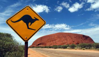 Ayres Rock, Australia: A Kangaroo warning road sign in the desert near Uluru